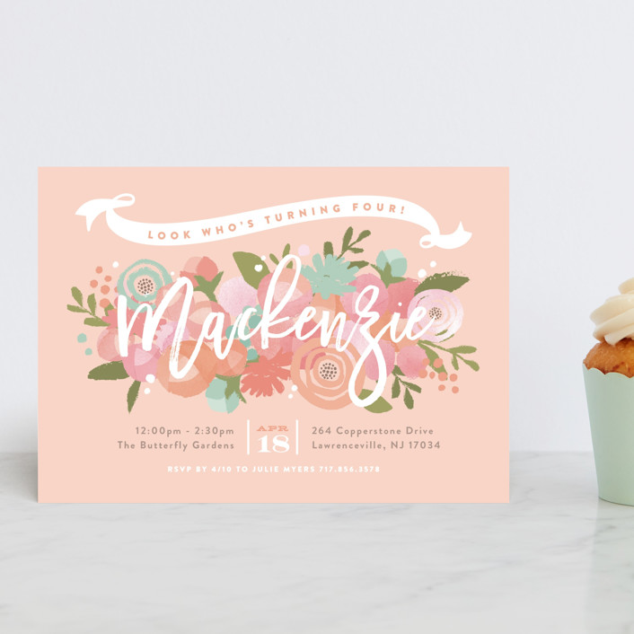 """""""Blooming Peonies"""" - Children's Birthday Party Postcards in Peach by Jennifer Wick."""