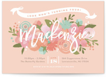 This is a orange kids birthday invitation by Jennifer Wick called Blooming Peonies with standard printing on signature in postcard.