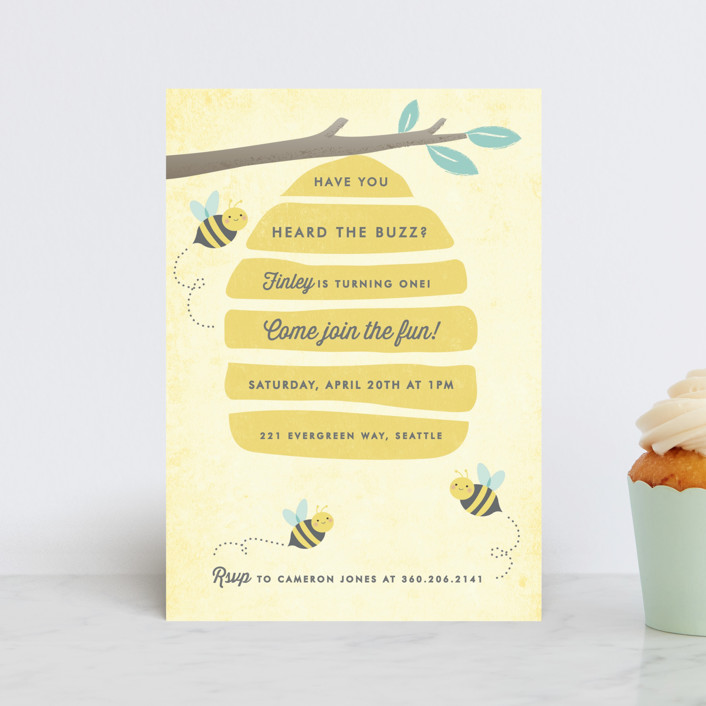 """""""Buzzing Beehive"""" - Children's Birthday Party Postcards in Daisy by Karidy Walker."""