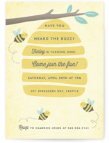 This is a yellow kids birthday invitation by Karidy Walker called Buzzing Beehive with standard printing on signature in postcard.