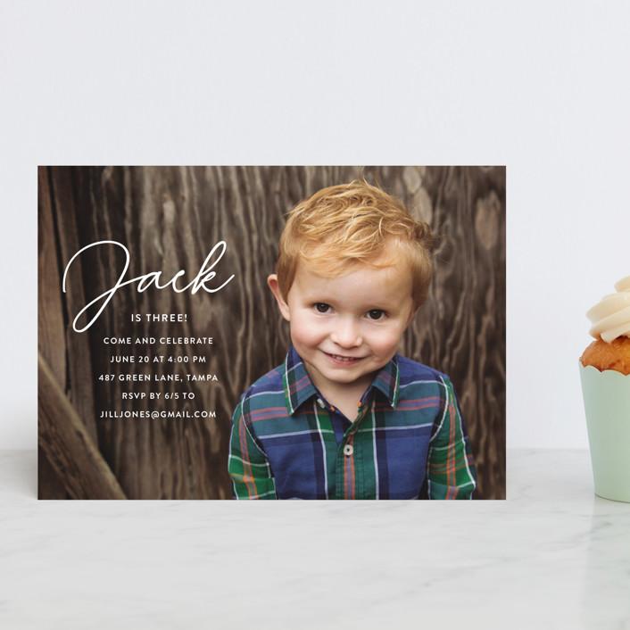 """Birthday Script"" - Children's Birthday Party Postcards in Snow by Kasia Labocki."