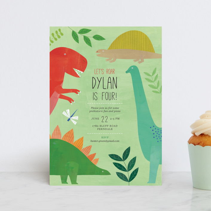 """""""Let's Roar DInosaur"""" - Children's Birthday Party Postcards in Forest by melanie mikecz."""