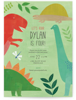 This is a green kids birthday invitation by melanie mikecz called Let's Roar DInosaur with standard printing on signature in postcard.
