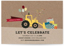 This is a brown kids birthday invitation by Rebecca Bowen called Krafting a Party with standard printing on signature in postcard.