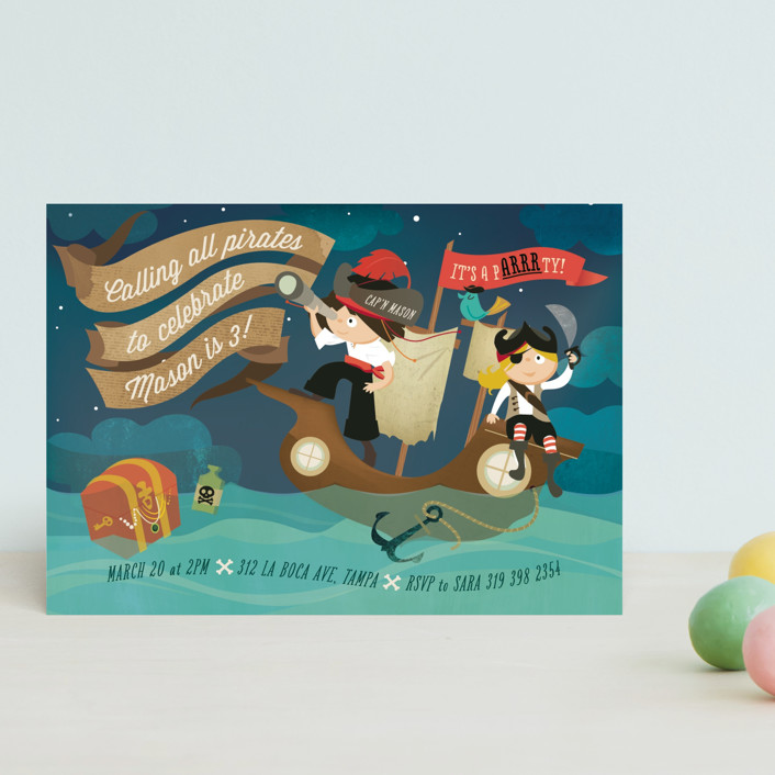 """""""pARRRty!"""" - Children's Birthday Party Postcards in Ocean by Lori Wemple."""
