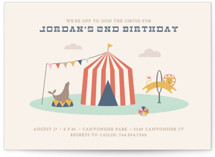 This is a blue kids birthday invitation by Amber Barkley called Off to Join the Circus with standard printing on signature in postcard.