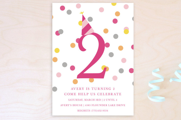 """Confetti Fun"" - Children's Birthday Party Postcards in Hot Pink by Pretty Girl Designs."