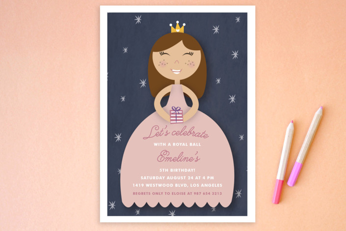 """Royal Ball"" - Children's Birthday Party Postcards in Cindy by Giselle Zimmerman."