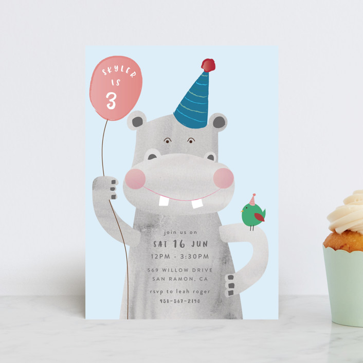 """""""Party Hippo"""" - Children's Birthday Party Postcards in Coral by Kanika Mathur."""