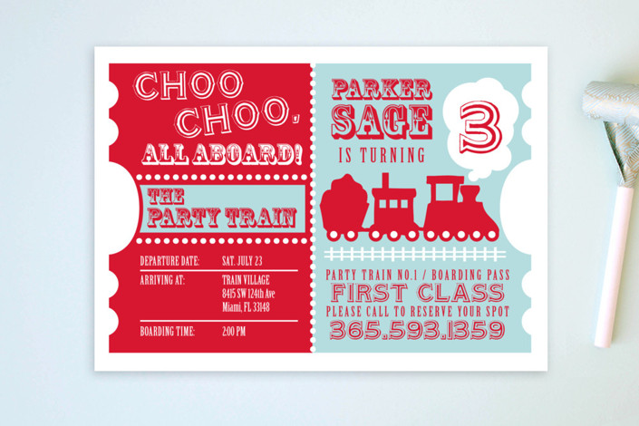 """Choo Choo Train"" - Children's Birthday Party Postcards in Classic by mafy."