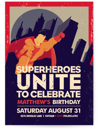 Superhero Kids Birthday Invitations