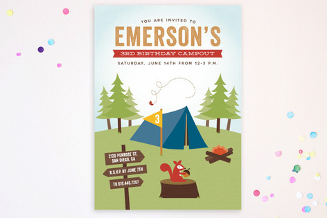 Critter Camping Children's Birthday Party Postcards