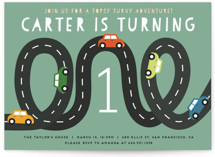 This is a green kids birthday invitation by Jennifer Lew called Little Racer with standard printing on signature in postcard.
