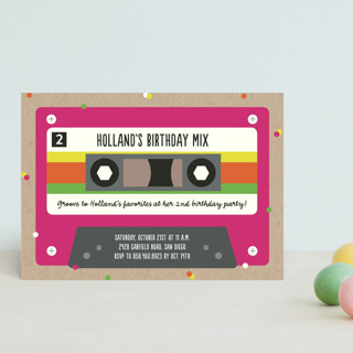 Retro Cassette  Children's Birthday Party Postcards
