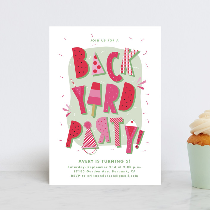 """""""Backyard Party"""" - Children's Birthday Party Postcards in Watermelon by Tatiana Nogueiras."""