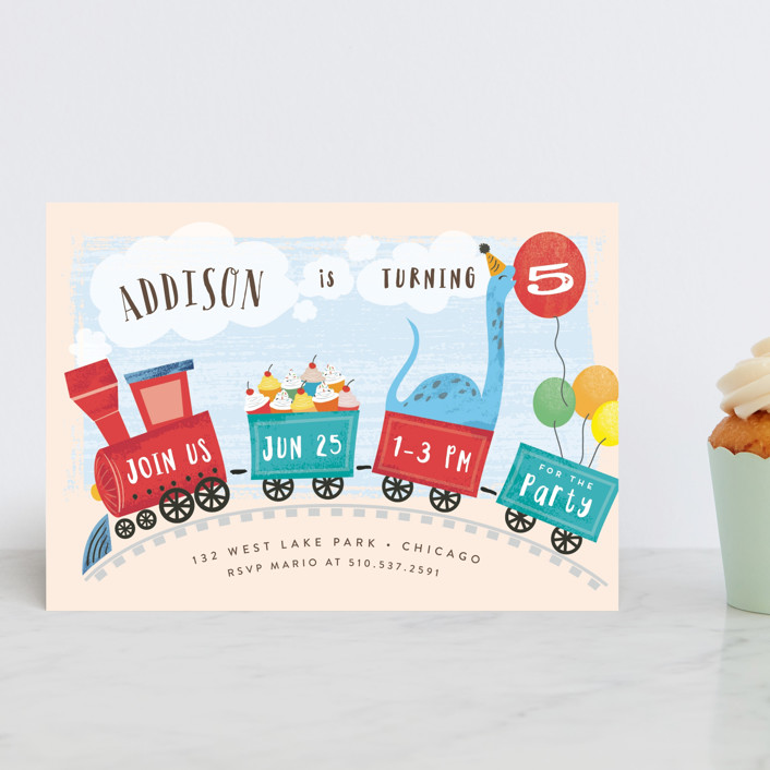 """""""fabriano"""" - Children's Birthday Party Postcards in Creme by chocomocacino."""
