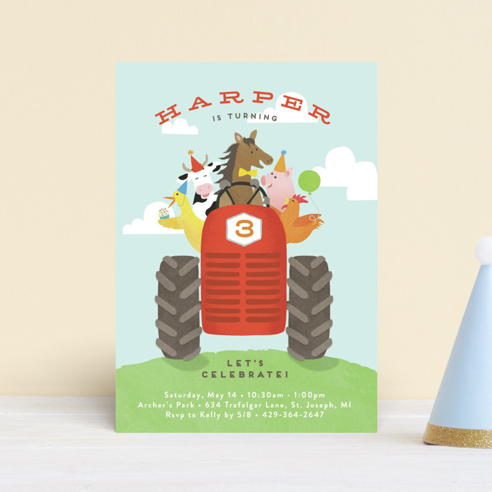 """farm animal friends"" - Children's Birthday Party Postcards in Robin's Egg by Jennifer Wick."