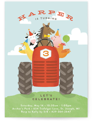 farm animal friends Children's Birthday Party Postcards