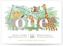 This is a green kids birthday invitation by Jennifer Wick called Jungle One with standard printing on signature in postcard.