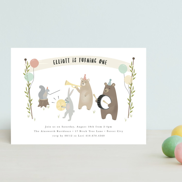 """""""bears marching band"""" - Children's Birthday Party Postcards in Primary by Faith Dorn."""
