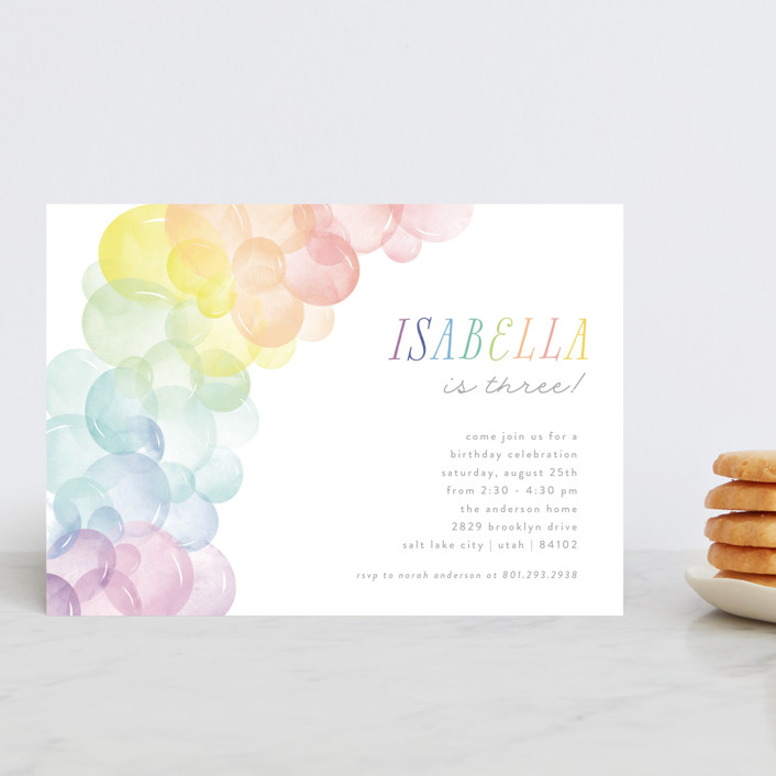 """Balloon Arch"" - Children's Birthday Party Postcards in Rainbow by Robert and Stella."