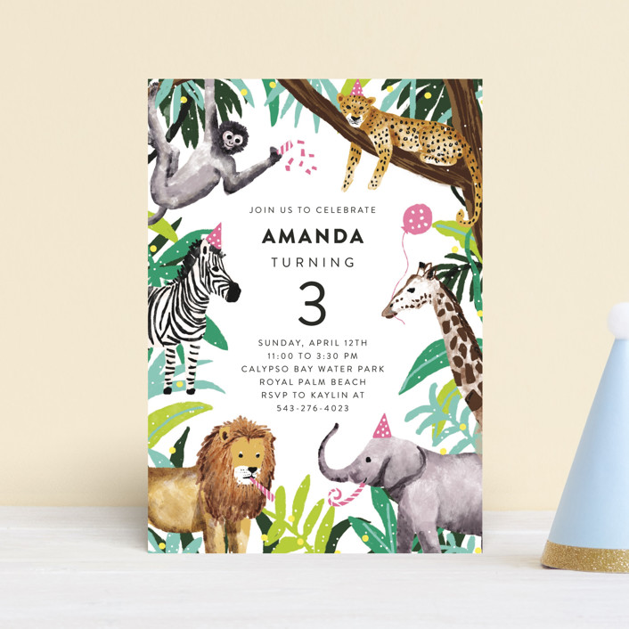 """""""Jungle Party"""" - Children's Birthday Party Postcards in Dragon Fruit by Cass Loh."""