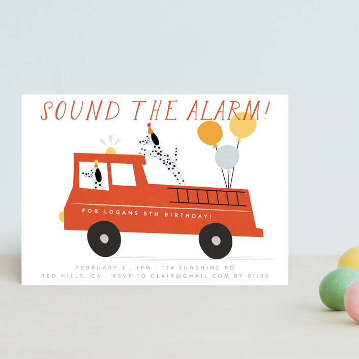 """""""Sound The Alarm!"""" - Children's Birthday Party Postcards in Dalmatian by Angela Thompson."""