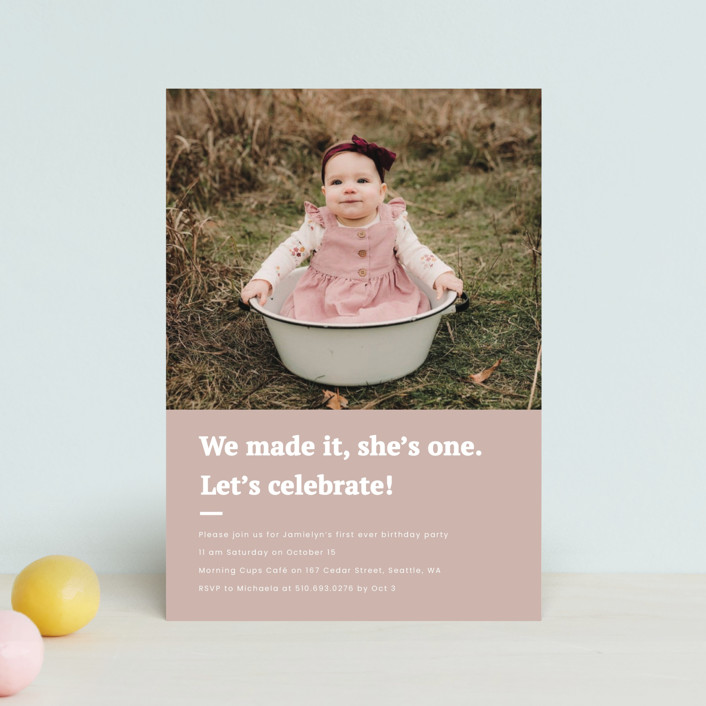 """""""Made it"""" - Children's Birthday Party Postcards in Blush by Adelyn T.."""