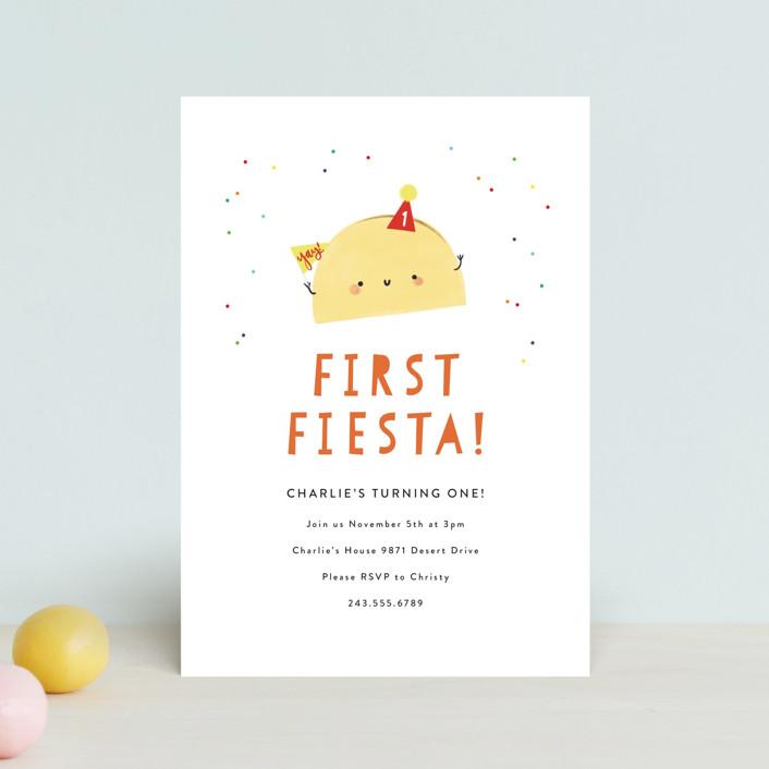 """1st Fiesta"" - Children's Birthday Party Postcards in Spicy by Itsy Belle Studio."