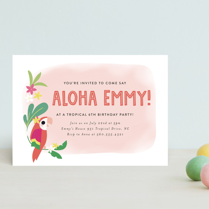 """""""Luau"""" - Children's Birthday Party Postcards in Petal by Itsy Belle Studio."""