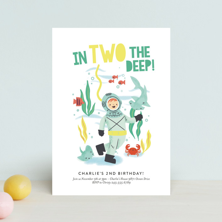 """""""Deep Dive"""" - Children's Birthday Party Postcards in Sea Green by Itsy Belle Studio."""
