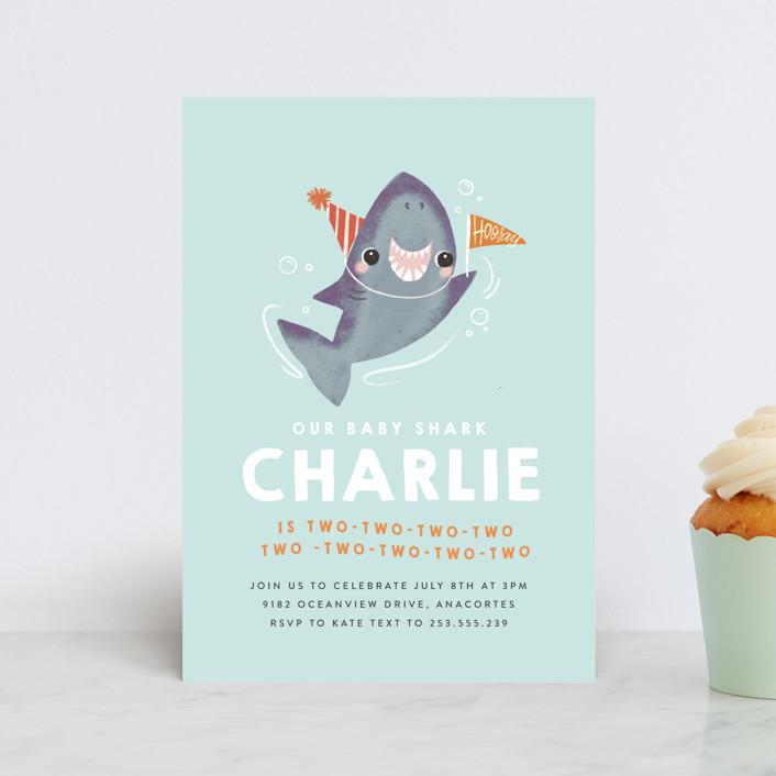 """Snappy Birthday"" - Children's Birthday Party Postcards in Ocean by Itsy Belle Studio."