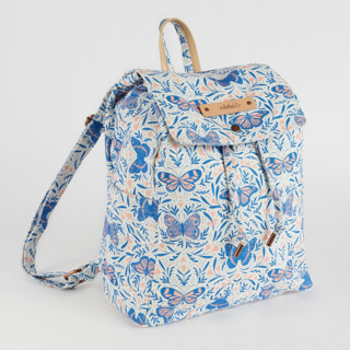 This is a purple canvas backpack by Paper Raven Co. called Pretty Pretty Butterfly in standard.