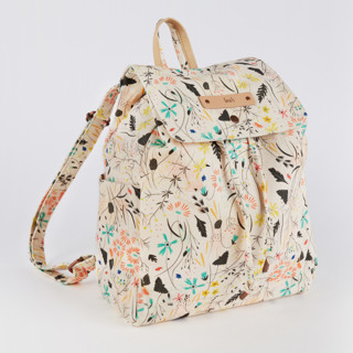 This is a yellow canvas backpack by Eve Schultz called Wildflower Meadow in standard.
