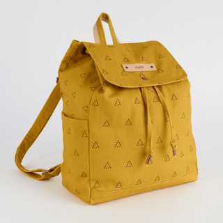 This is a yellow canvas backpack by Erika Firm called Espace Triangle in standard.