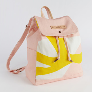 This is a yellow canvas backpack by Pati Cascino called Yellow Branches in standard.