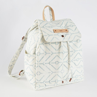 This is a white canvas backpack by Carolyn Nicks called Coastal.