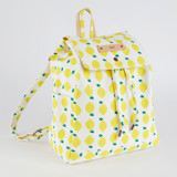 This is a yellow canvas backpack by Erica Krystek called Lemon Squeezy.