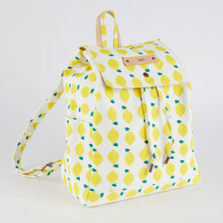 This is a yellow canvas backpack by Erica Krystek called Lemon Squeezy in standard.