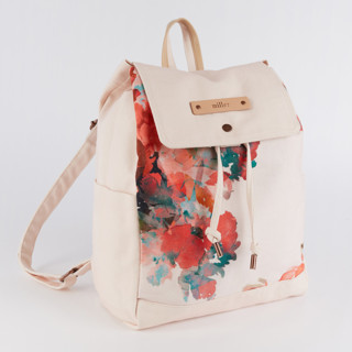 This is a pink canvas backpack by Lori Wemple called Floral Bouquet in standard.