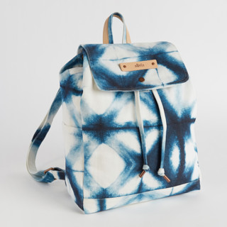 This is a blue canvas backpack by Agnes Pierscieniak called Indigo Diamond.
