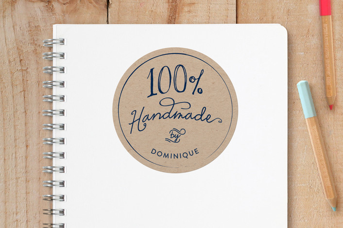 """100% Handmade"" - Custom Stickers in Kraft by 24th and Dune."