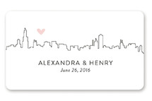 This is a pink custom sticker by Erin Deegan called Love In The Big City with standard printing on uncoated sticker paper in sticker.