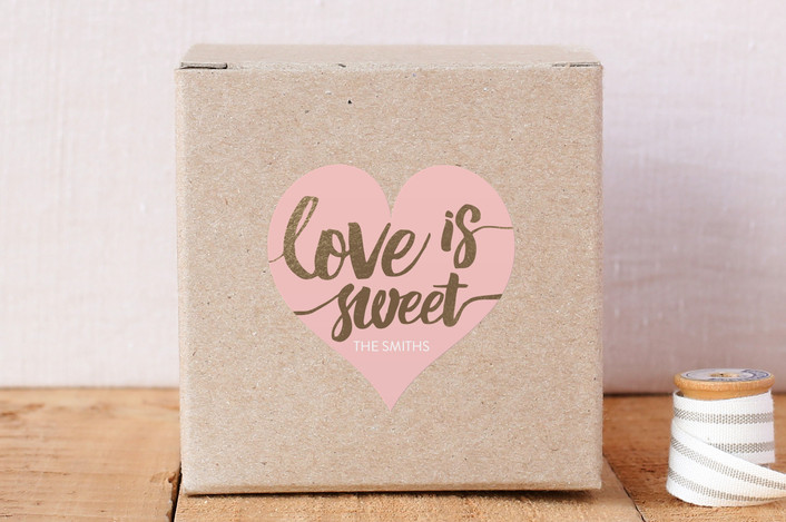 """Love Is Sweet"" - Custom Stickers in Blush by Saltwater Designs."