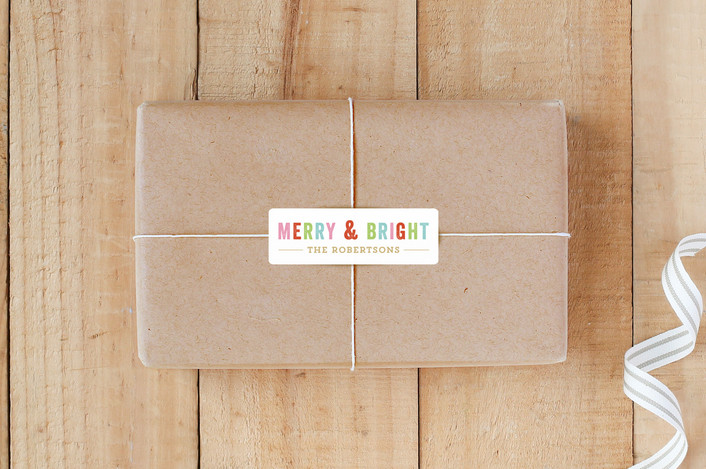 """Merry Bright"" - Custom Stickers in Brass by August and Oak."