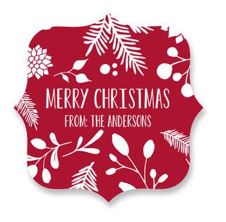 Merry Christmas Leaf Custom Stickers