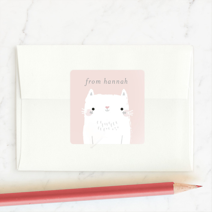 """You're Purrfect"" - Custom Stickers in Peony by Itsy Belle Studio."