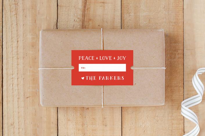 """""""Peace Love Joy Ticket"""" - Custom Stickers in Holly by Carolyn MacLaren."""