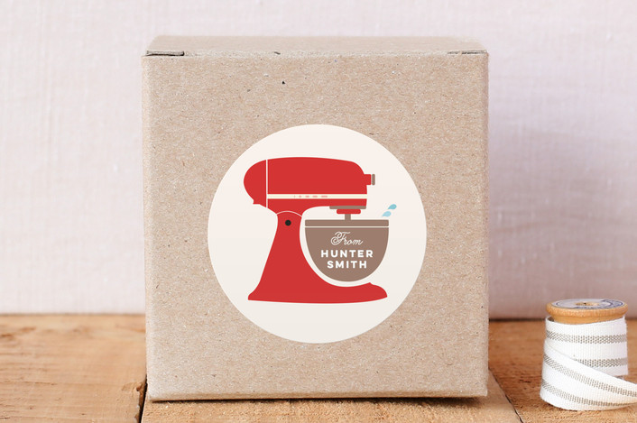 """Vintage Kitchen Mixer"" - Custom Stickers in Tomato by Katie Zimpel."