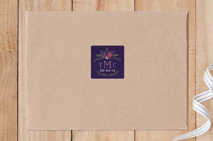 """""""Floral Monogram"""" - Custom Stickers in Navy by Dea and Bean."""